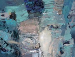 """Bogumiła Twardowska-Rogacewicz, z cyklu """"Toboły raczej szaro-turkusowe"""", 2016, akryl, płótno, 100×140 cm (źródło: materiały prasowe organizatora)"""
