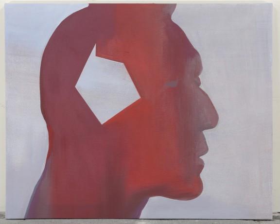 """Jan Merta, """"Indianin"""" (z cyklu """"Część amerykańskiej epopei""""), 2015–2016, akryl na płótnie, 90 x 110 cm (źródło: materiały prasowe organizatora)"""