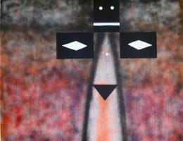"""László feLugossy, """"Totem"""", 2016, akryl / płótno / aplikacja, 130 x 150 cm (źródło: materiały prasowe organizatora)"""