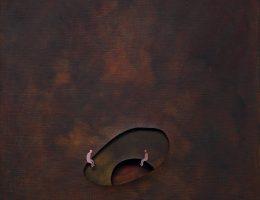 """Martin Knut, """"Siedząc naprzeciw rozwarstwieniu"""", 2016, akryl / płótno, 60 x 60 cm (źródło: materiały prasowe organizatora)"""