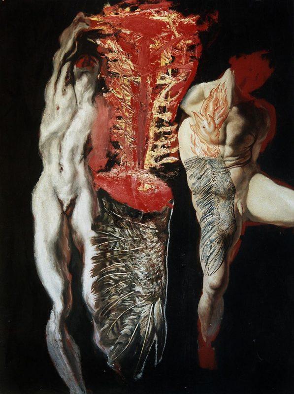 "Mirek Sikorski, ""Tatuaż, skrzydło, płomień"", 1996 (źródło: materiały prasowe organizatora)"