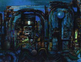 """Paweł Trybalski, """"Uliczka w Marrakeszu"""", 2012, azuryt, karton, 52×67 cm (źródło: materiały prasowe organizatora)"""