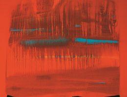 """Róbert Sütõ, """"Czerwona Meduza"""", 2015, akryl / płótno, 100 x 100 cm (źródło: materiały prasowe organizatora)"""