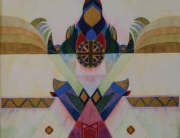 """Urszula Broll,""""Tajemna Góra"""", 1997, akwarela, 63x49 cm (źródło: materiały prasowe organizatora)"""