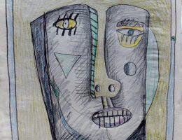 """Zbigniew Szumski, cykl """"Twarzowe fryzury"""", 1985, papier, kredki, 42×30 cm (źródło: materiały prasowe organizatora)"""