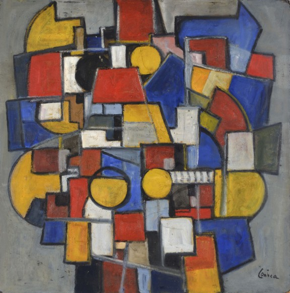 """Alfred Lenica, """"Geometria 3 Miasto"""", lata 40. XX w., Galeria Piekary (źródło: materiały prasowe organizatora)"""