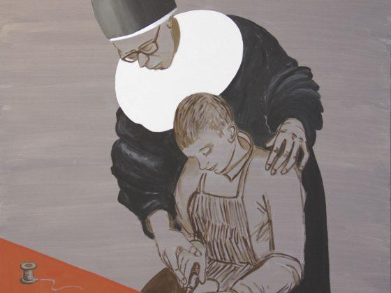 """Jarosław Modzelewski, """"Caritas – nauka zawodu"""", 135x120, 2016 (źródło: materiały prasowe organizatora)"""