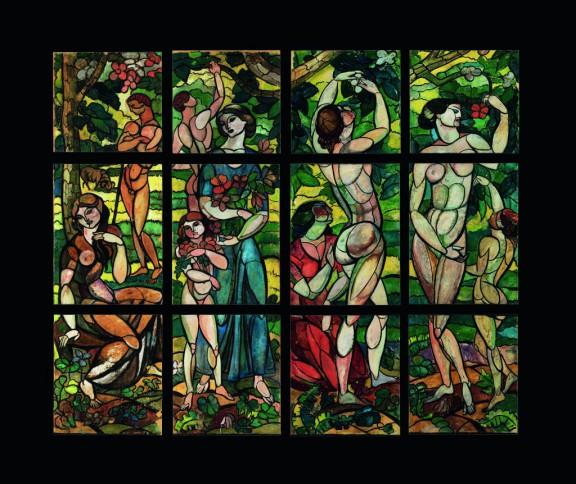 """Károly Kernstock, """"Wiosna"""" (projekt witrażu w willi Schiffera), 1911, Janus Pannonius Múzeum (źródło: materiały prasowe organizatora)"""