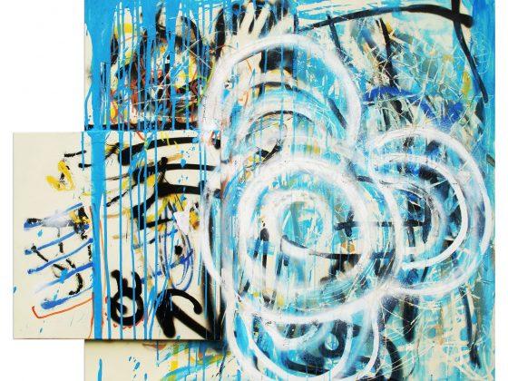 Piotr Ambroziak, bez tytułu, akryl, spray, 100×117 cm, 2017 (źródło: materiały prasowe organizatora)