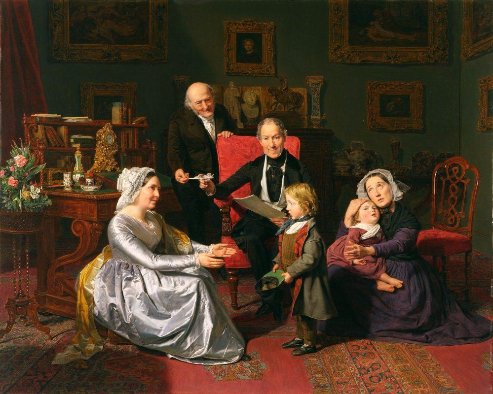 Ferdinand Georg Waldmüller, Adopcja, olej, deska, 62,5 × 79cm, Muzeum Narodowe we Wrocławiu, fot. Arkadiusz Podstawka (źródło: materiały prasowe MNW)