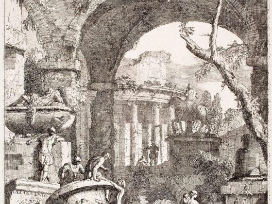 """Marco Ricci, """"Ruiny antycznych budynków z posągiem konnym i wazą w pejzażu ze sceną figuralną"""", ok. 1723–1729 (źródło: materiały prasowe organizatora)"""