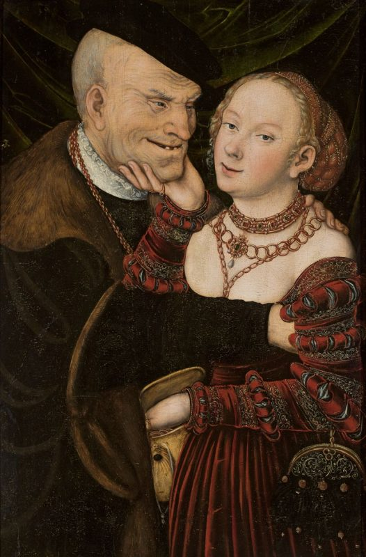 """Lucas Cranach st., warsztat, """"Niedobrana para"""", ok. 1537, Muzeum Narodowe w Warszawie (źródło: materiały prasowe organizatora)"""