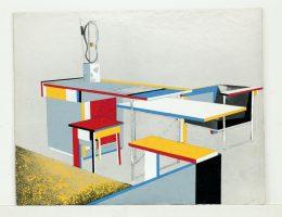 """Bohdan Lachert, projekt kompletu mebli z wyeksponowaną """"Rzeźbą abstrakcyjną (1)"""" Katarzyny Kobro [1924] na biurku, 1926, Muzeum Architektury we Wrocławiu (źródło: materiały prasowe organizatora)"""