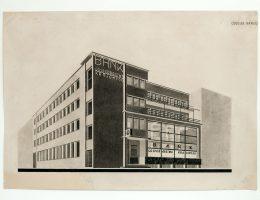 Bohdan Lachert i Józef Szanajca, projekt oddziału Banku Gospodarstwa Krajowego w Gdyni, 1927, Muzeum Architektury we Wrocławiu (źródło: materiał prasowy organizatora)