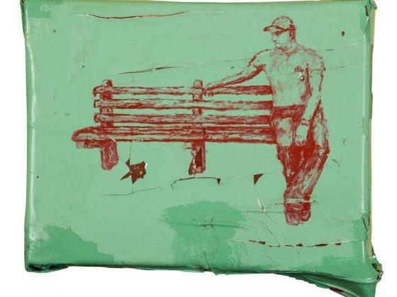 """Sebastian Krok, """"Amor"""", 2016, tempera, akryl, alkid, lakier do podłóg na pościeli nabitej na krosno, 23x30 cm (źrodło: materiały prasowe organizatora)"""