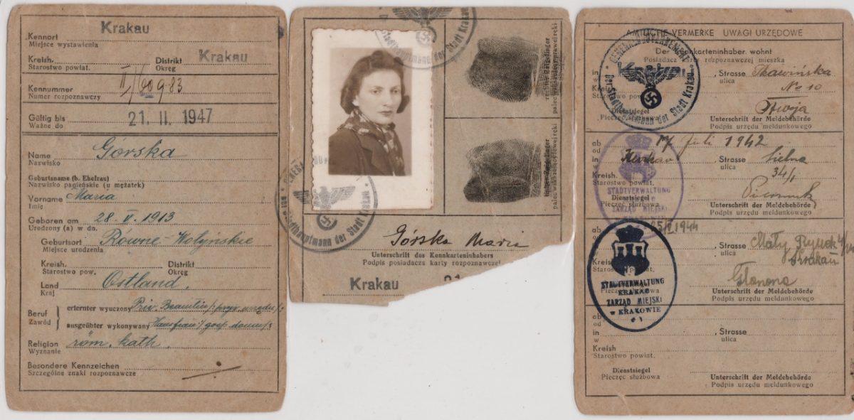 """Fałszywa kennkarta Marii Hochberg """"Mariańskiej"""" na nazwisko Maria Górska, po 1941, wł. prywatna (źródło: materiały prasowe organizatora)"""