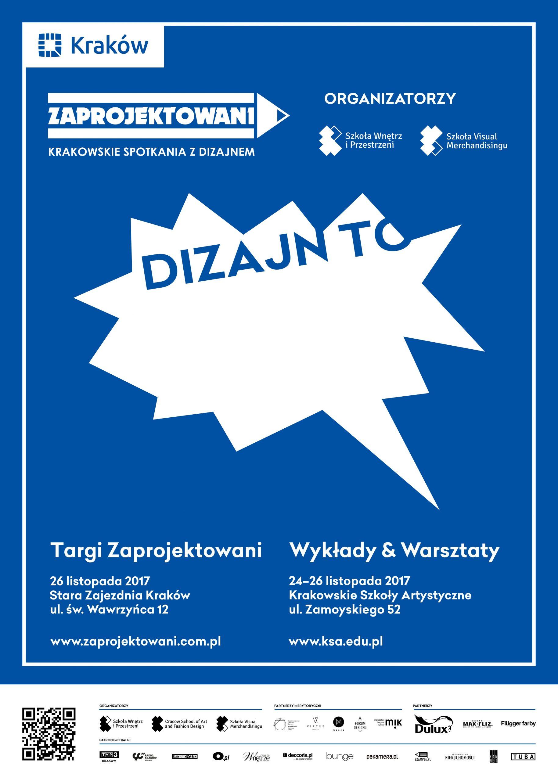 Plakat Zaprojektowanych – Krakowskich Spotkaniach z Dizajnem (źródło: materiały prasowe organizatora)