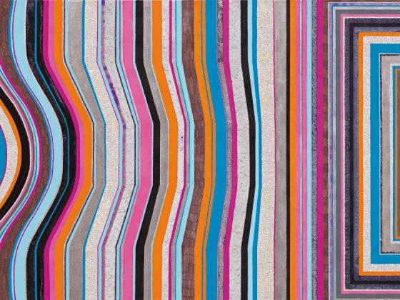 """Anna Ostoya, """"Transpozycja I"""", 2013, akryl, szelak, papier, papier-mâché, płatki palladu, płótno, fot. dzięki uprzejmości artystki i Bortolami Gallery, Nowy York (źródło: materiały prasowe organizatora)"""