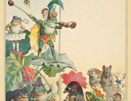 """Fedor Flinzer, """"Teatr żab"""" – projekt ilustracji do książki dla dzieci napisanej przez Juliusa Lohmeyera, 1880, rysunek (akwarela, tusz), Muzeum Narodowe we Wrocławiu (źródło: materiały prasowe organizatora)"""