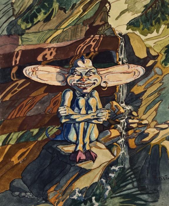 """Irena Dybowska-Jasińska, """"Śmiech górskiego strumienia"""", 1924, rysunek (akwarela), Muzeum Narodowe we Wrocławiu (źródło: materiały prasowe organizatora)"""