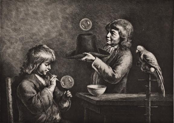"""Jean-Jacques de Boissieu, """"Bańki mydlane"""", 1799, grafika (akwaforta i sucha igła), Muzeum Narodowe we Wrocławiu (źródło: materiały prasowe organizatora)"""
