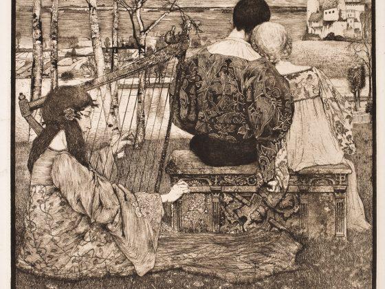 """Johann Heinrich Vogeler, """"Miłość"""", 1896, grafika (akwaforta), Muzeum Narodowe we Wrocławiu (źródło: materiały prasowe organizatora)"""