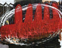 Eugeniusz Minciel, 5 palców to nie, akryl na płótnie, 200 x 272 cm, 2010 (źródło: materiały prasowe organizatora)