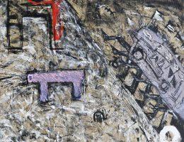 Eugeniusz Minciel, Gdy płoną krzesła, akryl na płótnie, 180 x 130 cm, 1985 (źródło: materiały prasowe organizatora)