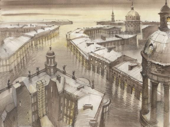 """Sergei Tchoban, """"Sen o Sankt Petersburgu II"""", kreda na papierze, 2005 (źródło: materiały prasowe organizatora)"""