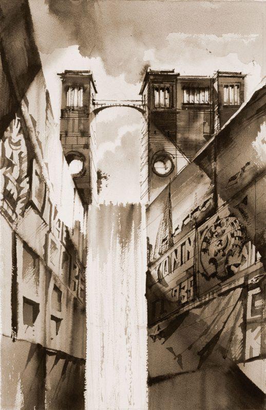 """Sergei Tchoban, """"Widok Moskwy – kanał rzeki Wołgi III"""", tusz chiński I akwarela na papierze, 2001 (źródło: materiały prasowe organizatora)"""