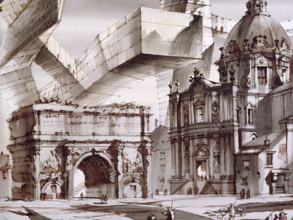 """Sergei Tchoban, """"Kaprys architektoniczny. Forum Romanum albo Dwa Światy I"""", projekt scenografii, piórko, pędzel, tusz chiński, akwarela, papier do akwareli na krośnie, 2013 (źródło: materiały prasowe organizatora)"""
