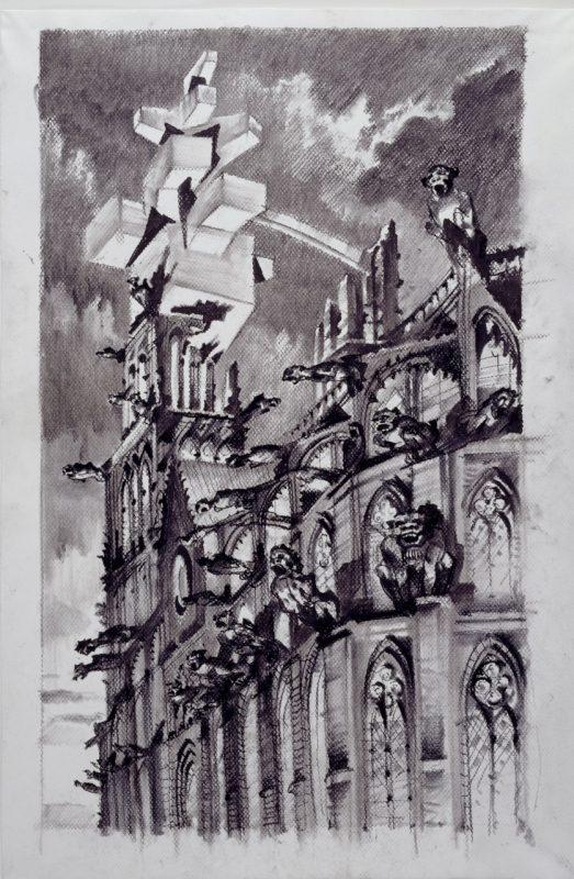 """Sergei Tchoban, """"Fantazja o Muzeum Rysunku Architektonicznego"""", węgiel na papierze, 2010 (źródło: materiały prasowe organizatora)"""