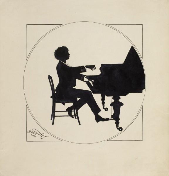 """Hans Schliessmann, """"Ignacy Jan Paderewski przy fortepianie"""", ok. 1899, tusz, karton, 33 x 31 cm, fot. Jan Ligier, Muzeum Narodowe w Warszawie (źródło: materiały prasowe)"""