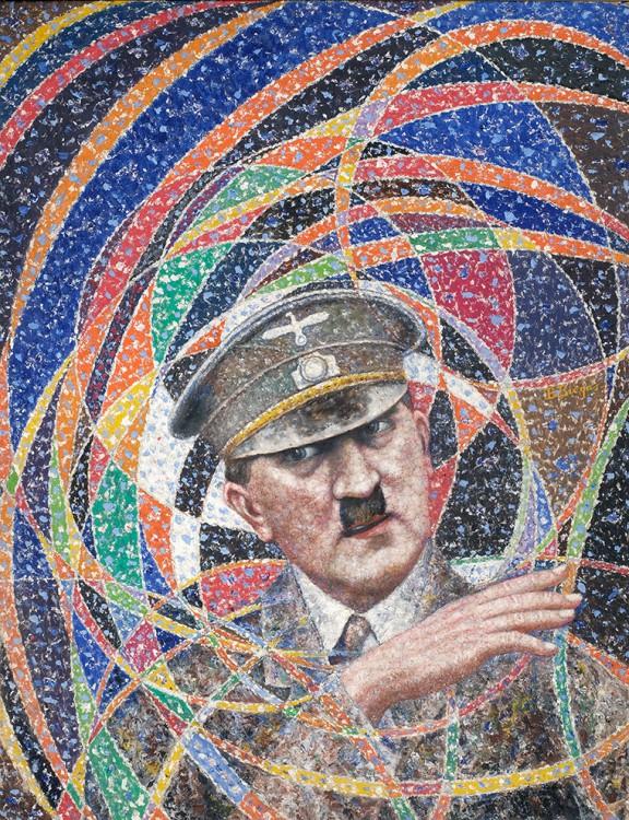 """Bolesław Biegas, """"Adolf Hitler"""", 1945/1946, olej na płycie, 65 x 50 cm, fot. Muzeum im. Bolesława Biegasa w Warszawie (źródło: materiały prasowe)"""
