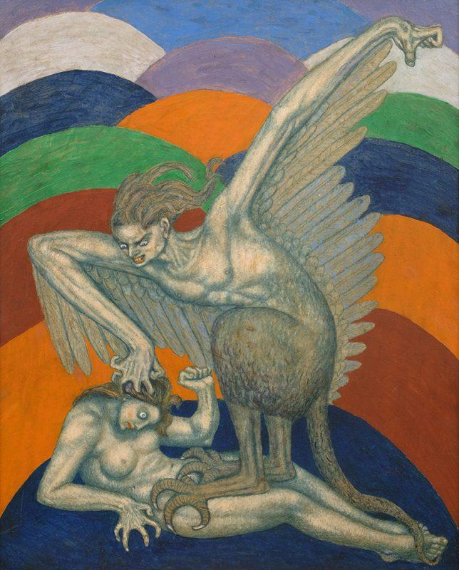 """Bolesław Biegas, """"Wampir w postaci zmory"""", olej na tekturze, 55 x 43 cm, 1917, fot. Muzeum im. Bolesława Biegasa w Warszawie (źródło: materiały prasowe)"""