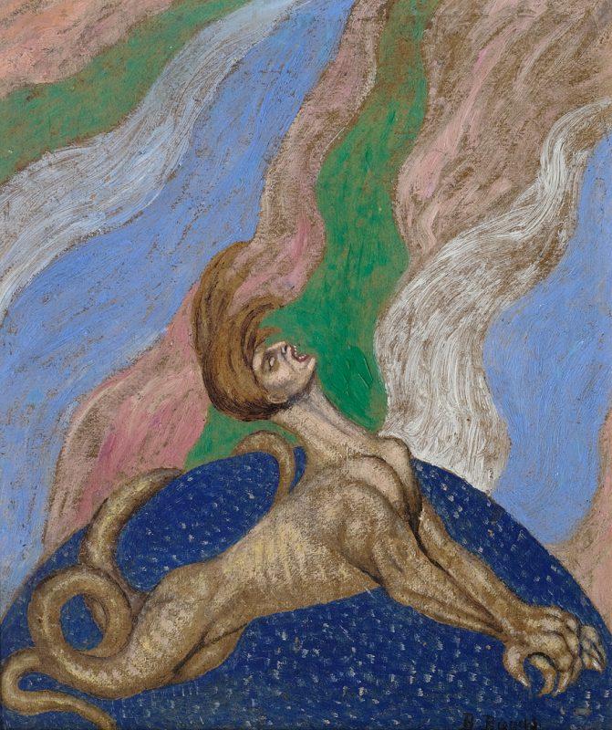 """Bolesław Biegas, """"Wampir złości"""", olej na tekturze, 35 x 30 cm, 1917, fot. Muzeum im. Bolesława Biegasa w Warszawie (źródło: materiały prasowe)"""