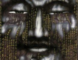 """Ewa Hadydoń, """"Shussan Shaka – Shakyamuni schodzący z góry"""", 39x x27 cm, airbrush, długopis, złoty i czarny tusz (źródło: materiały prasowe organizatora)"""