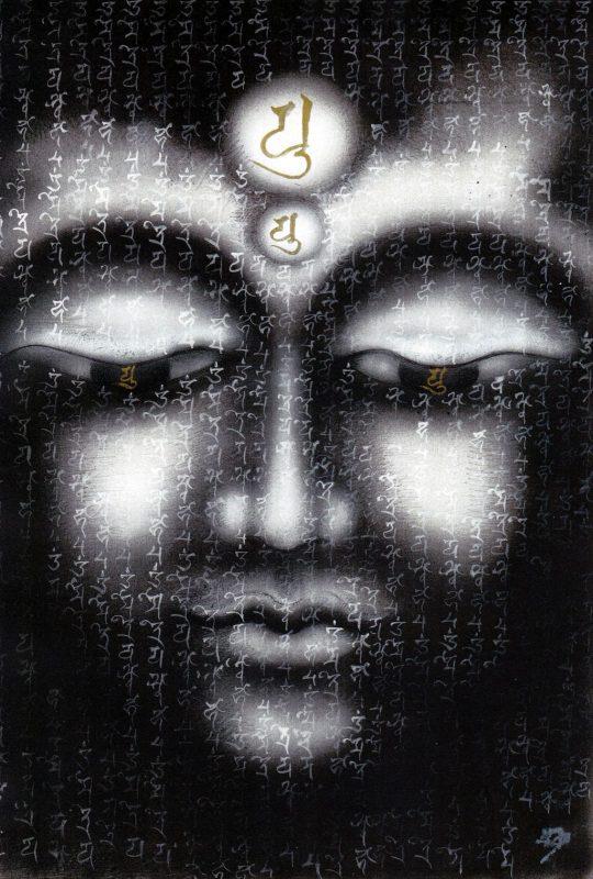 """Ewa Hadydoń, """"Miroku Bodhisattwa"""", sanskrypt Maitreya Bodhisattva, 38,7 x 26,6 cm, airbrush, długopis, biały i złoty tusz (źródło: materiały prasowe organizatora)"""