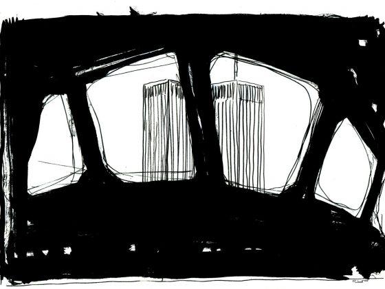 Cyprian Kościelniak, Bez tytułu (11.09.2001 – wieże World Trade Center widziane z kabiny pilota samolotu), 2001, papier, ołówek, tusz, 20,5 × 29,5 cm (źródło: materiały prasowe organizatora)
