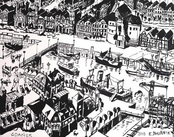"""Edward Dwurnik, """"Gdańsk"""", 2016, olej, płótno, 114 cm x 146 cm (źródło: materiały prasowe organizatora)"""