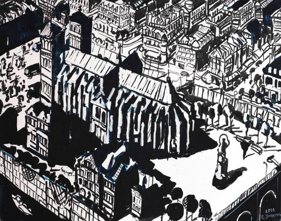 """Edward Dwurnik, """"Paryż"""", 2016, olej, płótno, 114 x 146 cm (źródło: materiały prasowe organizatora)"""