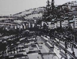 """Joanna Mieszko-Nita, """"O Szczecinie XVI – 14"""", 2016, akryl, płótno, 175 x 210 cm (źródło: materiały prasowe organizatora)"""