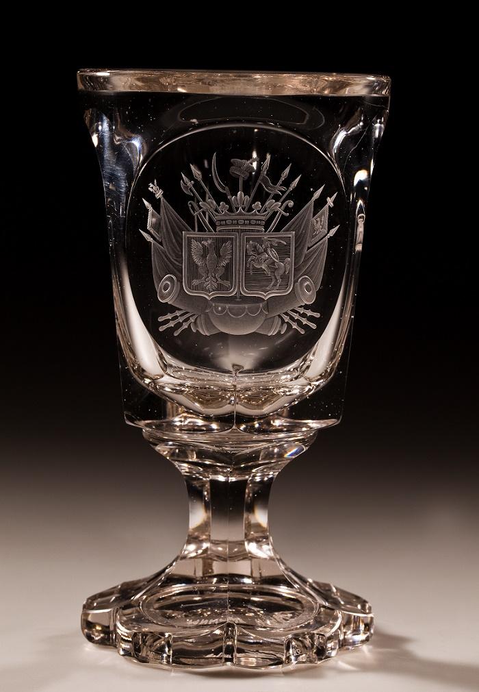 Pucharek z godłem Królestwa Polskiego, Polska lub Śląsk (Kotlina Kłodzka), ok. 1830–1835 (źródło: materiały prasowe organizatora)
