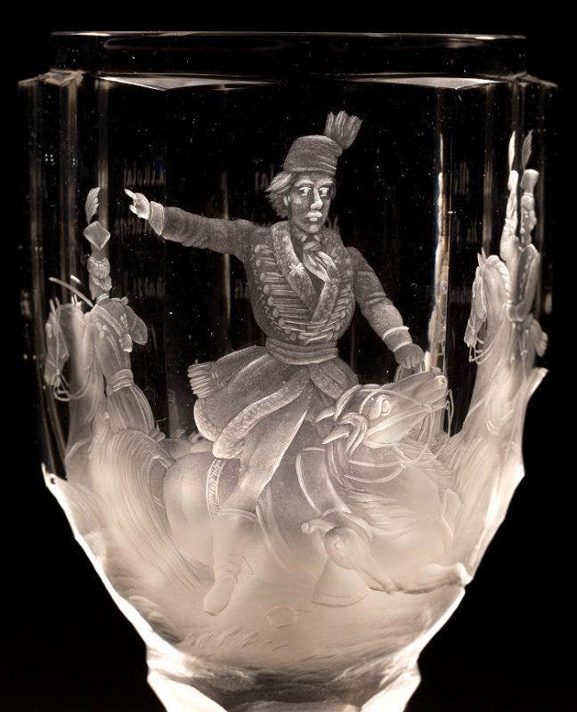 Puchar pamiątkowy, Czechy, ok. 1863, szkło: Gräfflich Harrahsche Glasfabrik Neuwelt (Nový Svět), dekoracja: Johann F. Hoffmann w Karlsbadzie (Karlowe Wary) (źródło: materiały prasowe organizatora)