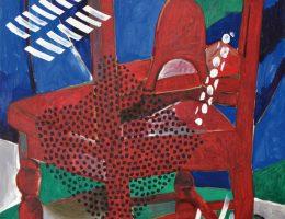 """Wojciech Fangor, """"Krzesło czerwone"""", 1993 (źródło: materiały prasowe organizatora)"""