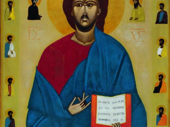 """Jerzy Nowosielski, """"Chrystus Pantokrator."""", 1978, akryl na desce (źródło: materiały prasowe organizatora)"""