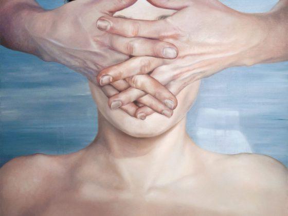 """Joanna Kaucz, """"Autosugestia"""", akryl i olej na płótnie, 140x120 cm, 2015 (źródło: materiały prasowe organizatora)"""