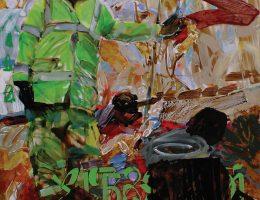 """Marcelina Groń, """"Sphagnum commando"""", 180x120 cm, akryl na płótnie, 2017 (źródło: materiały prasowe organizatora)"""