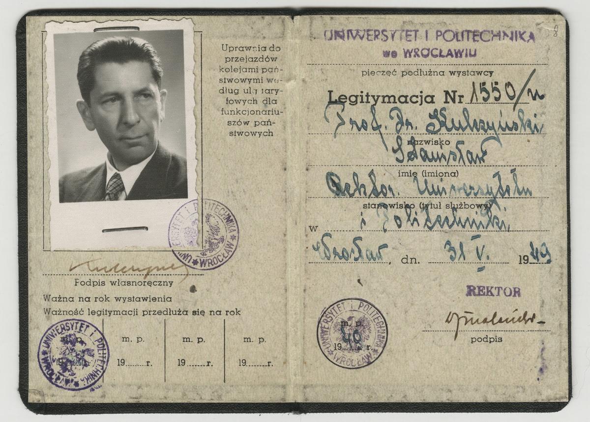 Legitymacja Uniwersytetu i Politechniki Wrocławskiej, 1949 (źródło: materiały prasowe organizatora)