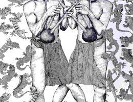 """Joydeb Roaja, """"W poszukiwaniu swoich korzeni"""", 2017, tusz na papierze, dzięki uprzejmości Samdani Art Foundation (źródło: materiały prasowe organizatora)"""